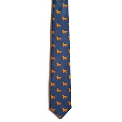 Chipp 2 Golden Retriever Silk Necktie with Deep Blue Background