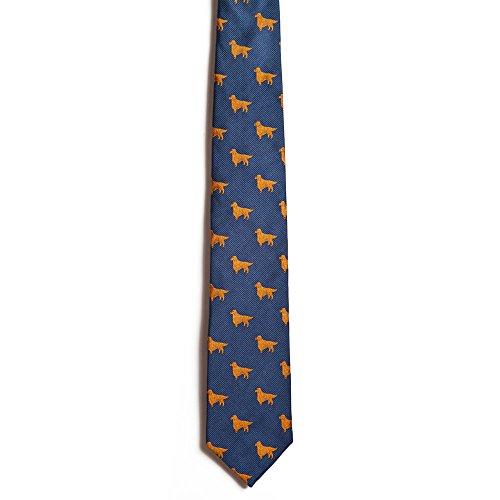 Chipp 2 Golden Retriever Silk Necktie with Deep Blue Background