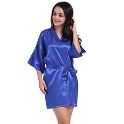 Challyhope Sleepwear, Women's Half Sleeves Short Kimono Pure Silk Robe for Bride Wedding P ...
