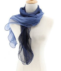 Jiao Miao Women's Solid Color 3 layers Silk Long Scarf,170111-18