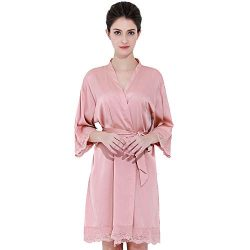 BRIDETOBESHOP Lace Silk Bredesmaid Robes, Bridal Robes. (One Size, Dusty Rose)