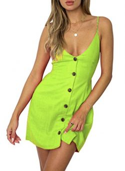 ZESICA Women's Summer V Neck Spaghetti Strap Solid Color Button Down Beach Short Mini Dress