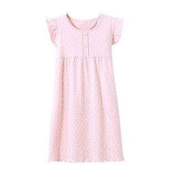 BOOPH Girls' Princess Nightgown, Cotton Baby Toddler Girl Heart Shape Dots Sleepwear Short ...