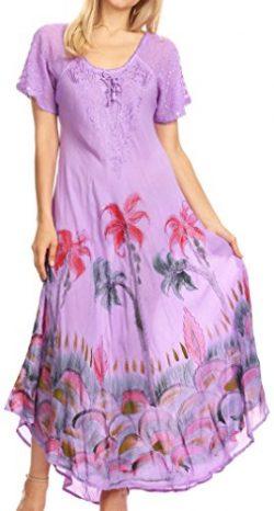 Sakkas 18610 – Irem Women Everyday Caftan Long Dress Kaftan with Corset and Lace Sleeves & ...