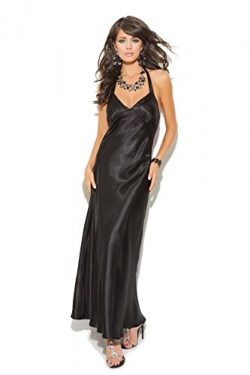 Womens Charmeuse Sexy Hot Satin Halter Neck Full Length Gown – 1X – Black