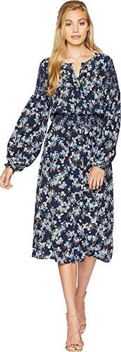 Juicy Couture Women's Bouquet Floral Silk Midi Dress Regal Aster Fields Medium