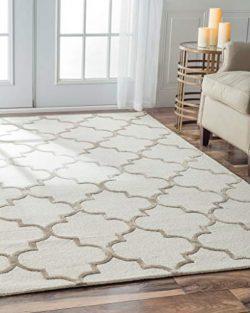 Handmade Moroccan Trellis Faux Silk Wool Nickel Area Rugs, 6 Feet by 9 Feet (6′ x 9′)
