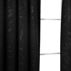 Deconovo Bamboo Leaf Pattern Blackout Curtains Thermal Insulated Rod Pocket Texture Embossed Cur ...