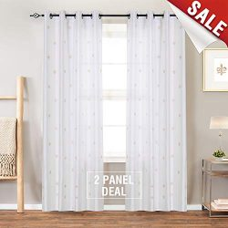 jinchan Flur De Lis Embroidered Curtains Bedroom Faux Silk Semi Sheers Embroidery Window Curtain ...
