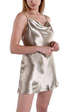 Fyriona Women's Backless Dress Satin Nightgown Sleepwear Club Party Spaghetti Slip Cowl Ne ...