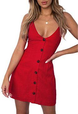 ZESICA Women's Summer V Neck Spaghetti Strap Solid Color Button Down Beach Short Mini Dress