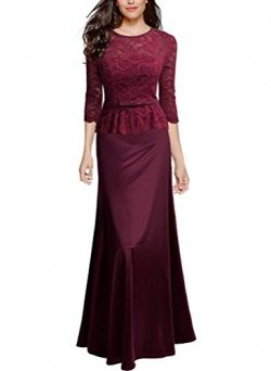 JAIZ Maxi Dresses For Women, Sexy Plain Half Sleeve Red Lace Extra Long Regular Size Summer Vint ...