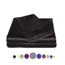 JUWENIN Silky Soft Solid Matte-Satin Bed Sheet Sets Shiny-Free,Deep Pocket (King, Black)