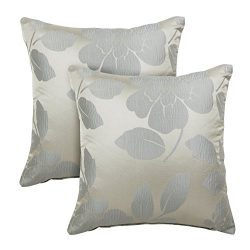 Alexandra Cole Faux Silk Floral Throw Pillow Cases Decorative Square Pillow Covers 18×18 Cu ...