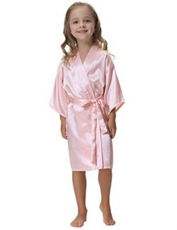 Aibrou Kids' Satin Kimono Robe Bathrobe Nightgown For Spa Party Wedding Birthday