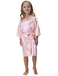 Aibrou Kids' Satin Kimono Robe Bathrobe Nightgown For Spa Party Wedding Birthday