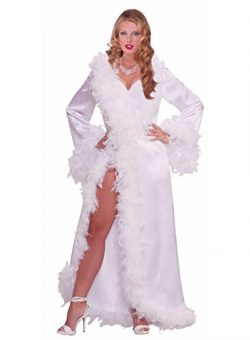Forum Novelties Vintage Hollywood Marabou Satin Robe, White, Standard