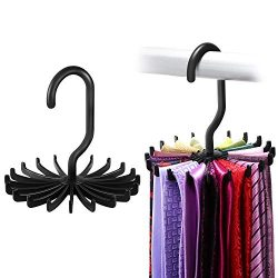 IPOW 2 Pack Updated Twirl Tie Rack Belt Hanger Holder Hook Closet Organizer Storage