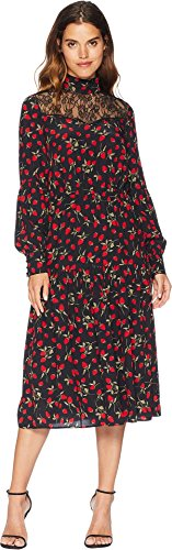 Juicy Couture Women's Strawberry Print Silk Midi Dress Pitch Black Strawberry Fields Large