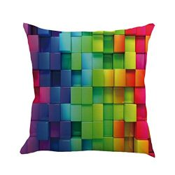 Pillowcase, Shybuy 3D Rainbow Color Printed Pillow Cover Decorative Pillowcase for Bedroom, Livi ...