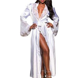 Makaor Women Nightgown Long Silk Kimono Dressing Gown Babydoll Lace Lingerie Bath Robe (White, S ...
