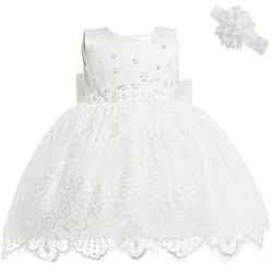 Moon Kitty Baby Girl Newborn 3D Flower Party Floral Dresses Pagent Lace Dress Gown for Baby Girl ...