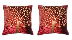 Cranberry Set of two Premium Luxury Velvet Silk Square Throw Pillow Covers/Cushion Covers for De ...