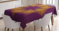 Ambesonne Purple Tablecloth, Traditional Mandala Moroccan Royal Colors Mystic Cosmos Symbol Ethn ...