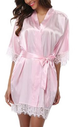 Giova Women's Lace Trim Kimono Robe Nightwear Nightgown Sleepwear Satin Short Robe Baby Pi ...