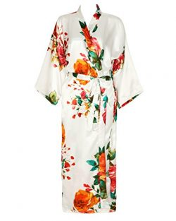 Zarachilable Women 's Long Kimono Robe Floral Bridesmaid Robe,Bridal Robe (One Size, White)