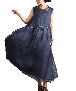 FINCATI Maxi Dress Women Summer Silk Cotton Double Layers with Pocket Natural dye Colored Soft L ...