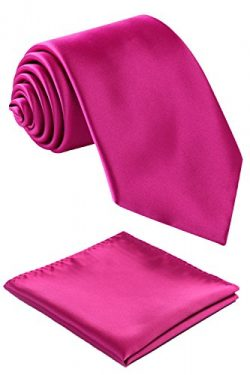 Fortunatever Classical Men's Solid Necktie With Gift Box+Pocket Square (Magenta)