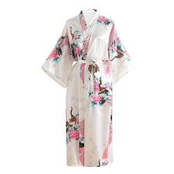 Women's Printing Kimono Robe with Short Sleeve V-Neck, Imitation Silk Bathrobe, Wedding Bridal S ...