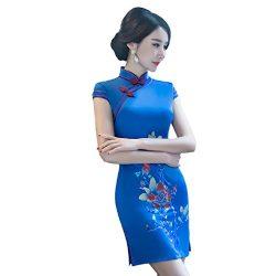 Shanghai Story Faux Silk Qipao Chinese Short Cheongsam Oriental Dress M Blue