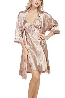 4Ping Women Sexy Robe Night Gown Silk Two-Piece Suit Sleepwear Beige XL