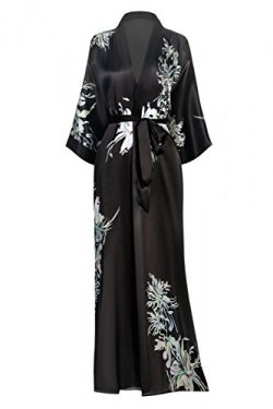KIM + ONO Women's Silk Kimono Robe Long – Floral Print, Yuri- Black