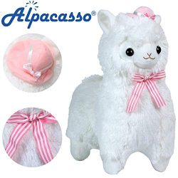 KSB 20″ Giant Huge White Plush Alpaca With Silk Scarf And Hat,Cute Soft Stuffed Animals Cu ...
