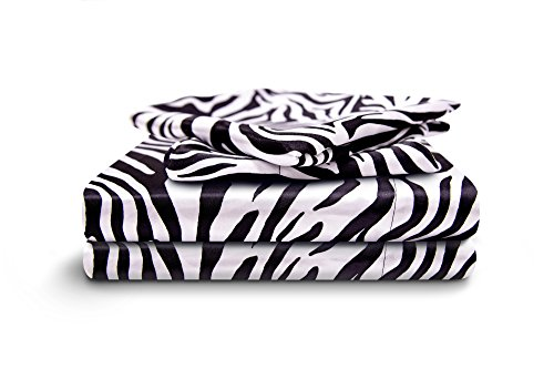 HONEYMOON HOME FASHIONS Full Sheet Set Luxury Silkily Like Satin Bed Sheets, Zebra