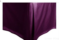 Purple Solid Faux Silk Bed Skirt King Size Dust Ruffle Bedding 14″ Drop MF525