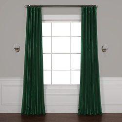 Half Price Drapes PTCH-JTSP208-108 Faux Silk Taffeta Curtain, Emerald Green