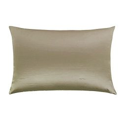 cyclamen9 1PC Soft Silk Pillowcase Pillow Cases Cushion Covers Queen Standard Hair Beauty(khaki)