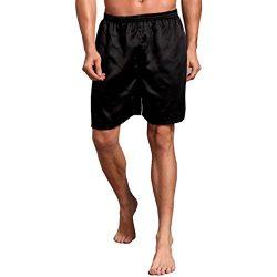 vermers Clearance Men Sleepwear Shorts Comfy Silk Satin Pajama Homewear Robes Shorts Loungewear  ...