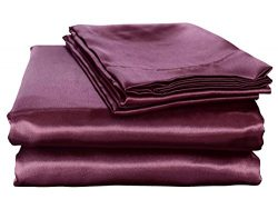 HONEYMOON HOME FASHIONS Ultra Luxury and Soft Satin Queen Bed Sheet Set – Purple
