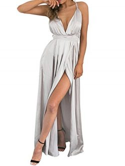 BerryGo Women's Sexy Sleeveless Backless Deep V Neck Split Satin Long Party Dress Gown Silver