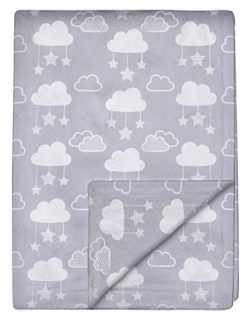 Minky Baby Blanket 30″ x 40″ – Stars and Clouds – Soft Swaddle Blanket f ...