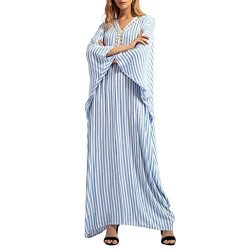 VEZAD Stripe Rhinestone Long Dress Islamic Muslim East Maxi Robe Dresses