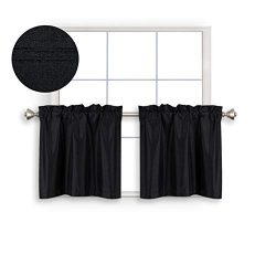 Home Queen Faux Silk Rod Pocket Tier Curtains Small Window, Short Room Darkening Kitchen Curtain ...