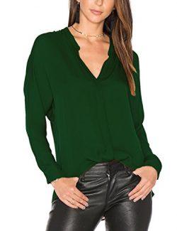 Dohia Women's Casual V Neck Chiffon Blouses Long Sleeve Loose Tops Shirt C2613 (XL, New DG ...