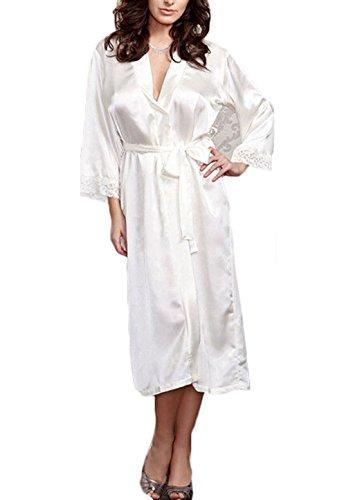 Tomblin Women's Pure Color Lace Satin Kimono Long Robe Silk Bridal Bridesmaid Robe (One Si ...