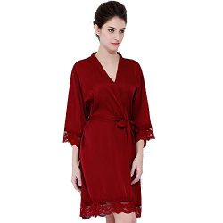 BRIDETOBESHOP Lace Silk Bredesmaid Robes, Bridal Robes. (One Size, Burgundy)